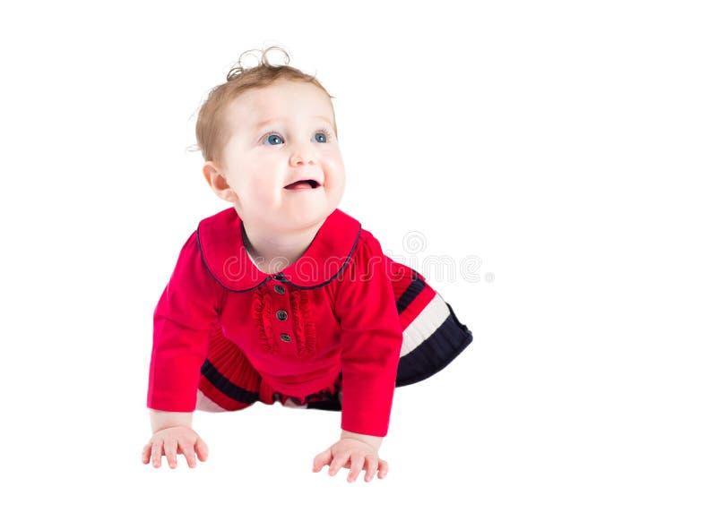 Neonata in un vestito rosso dal elegand che impara strisciare immagini stock