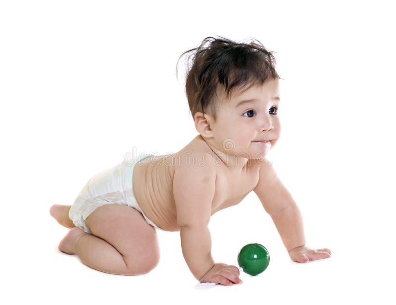 Neonato asiatico con il giocattolo fotografia stock libera da diritti