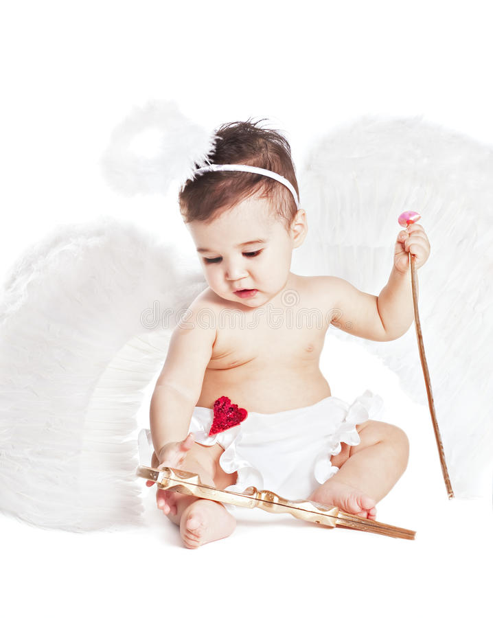 Neonato asiatico in un vestito operato da angelo immagine stock