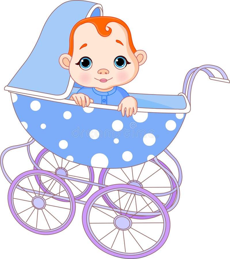 Neonato in carrello royalty illustrazione gratis