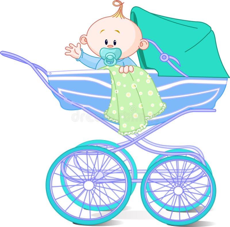 Neonato in carrello illustrazione vettoriale