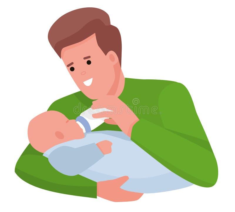 Neonato d'alimentazione del giovane padre felice con la bottiglia per il latte sullo strato a casa Illustrazione piana di vettore illustrazione di stock