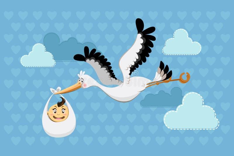 Neonato di consegna della cicogna di volo illustrazione vettoriale