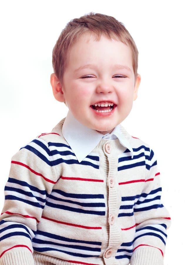 Neonato di risata felice isolato su bianco fotografia stock libera da diritti