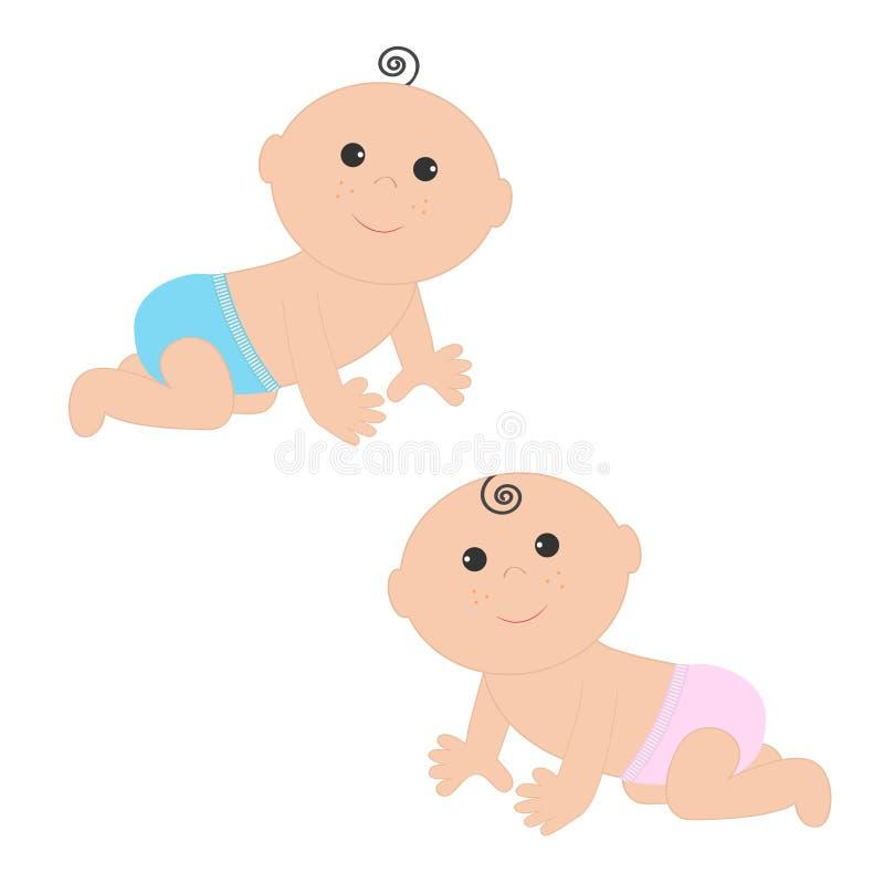 Neonato sveglio e ragazza che strisciano nell'insieme blu rosa dell'icona del pannolino Isolato Priorità bassa bianca Acquazzone  illustrazione vettoriale