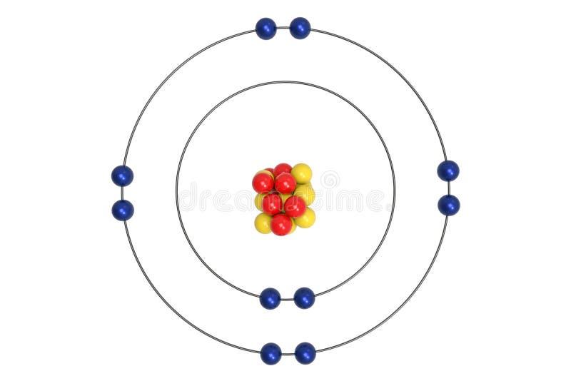 NeonAtom Bohr modell med proton, neutronen och elektronen royaltyfri illustrationer