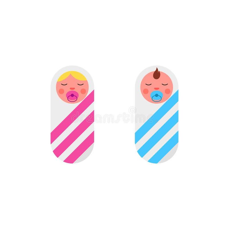 Neonatos de sono menino e gêmeos da menina com a chupeta ou o manequim envolvida na roupa envolvendo-se com rosa e a fita azul ilustração stock