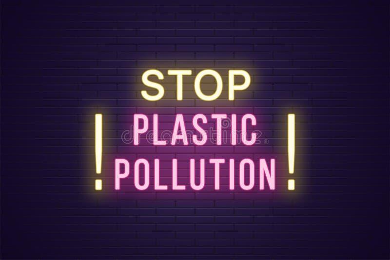 Neonbanner, de Plastic Verontreiniging van het krantekopeinde, tekst vector illustratie