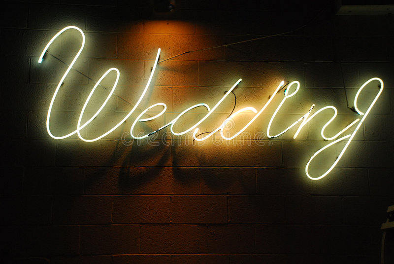 neonbröllop royaltyfri fotografi