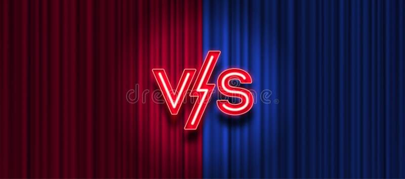 Neonbrieven tegenover embleem op rode en blauwe gordijnachtergrond VERSUS embleem voor spelen, slag, prestaties, gelijke, royalty-vrije illustratie