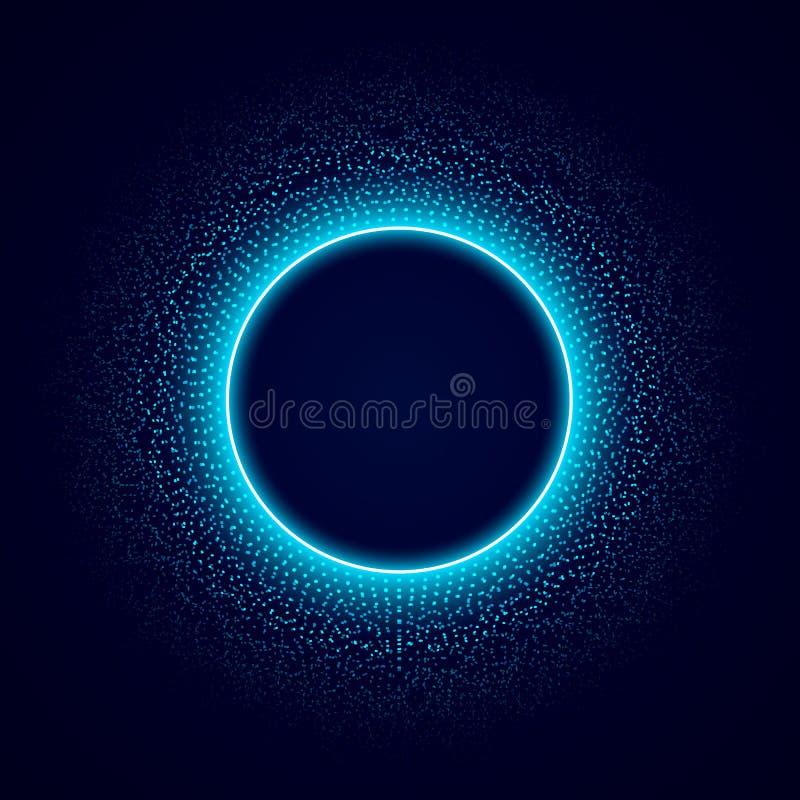 Neoncirkel met punten lichteffect voor zwarte achtergrond Audioequaliser Correcte impulsvisualisatie Vector vector illustratie