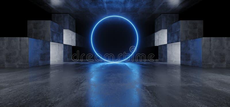 Neoncirkeln tänder för den Sci Fi för diagrammet det glödande blåa vibrerande faktiska rymdskeppet för podiet för garaget för kon royaltyfri illustrationer