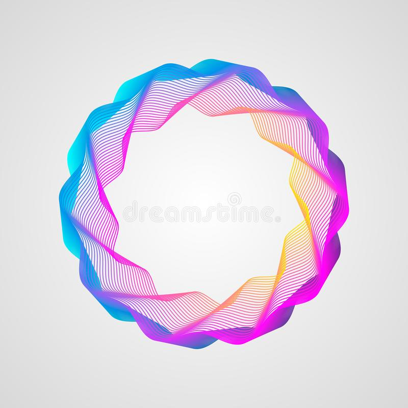 Neoneffect golvend helder gradiëntkader Gestileerd guilloche element stock foto