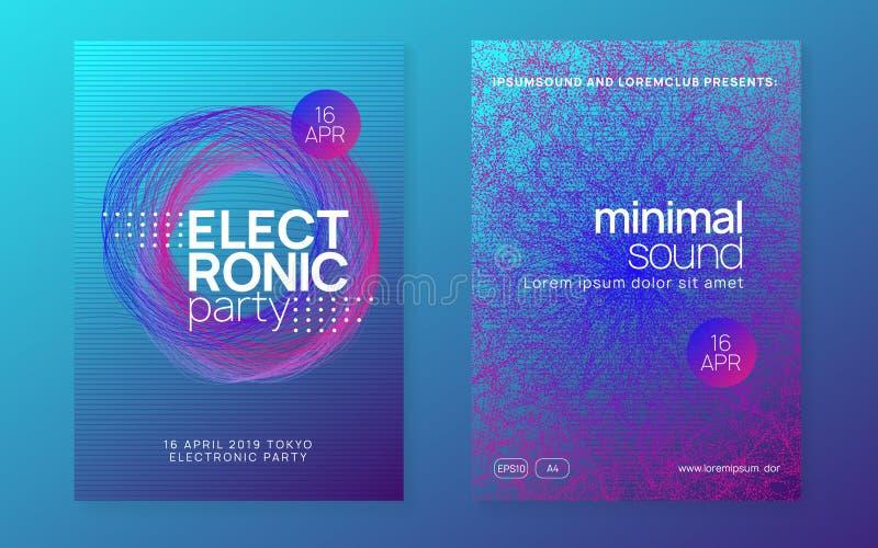 Neonfluor för Dj-händelse Teknotransfest Elektrodansmusik E vektor illustrationer