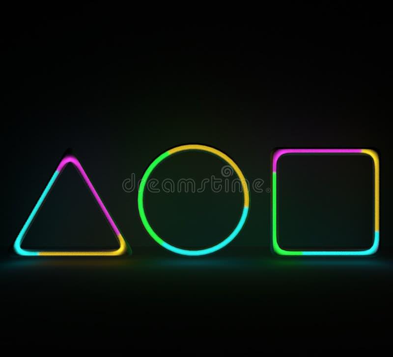 Neonformer med gasnoice inom gasrör för illustration 3D med flerfärgad gas vektor illustrationer