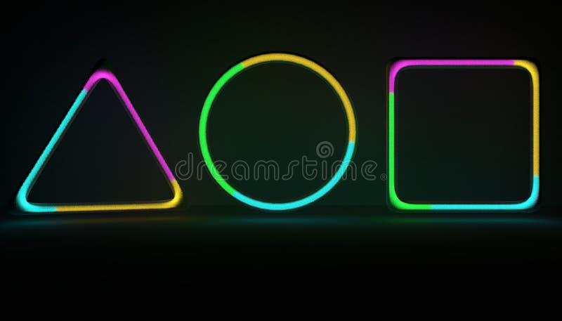 Neonformer med gasnoice inom gasrör för illustration 3D med flerfärgad gas stock illustrationer