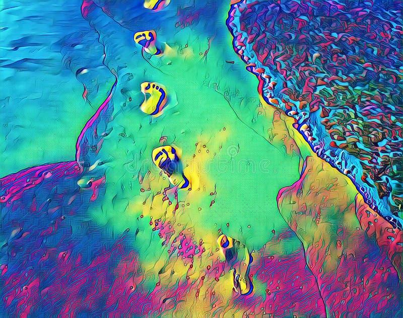 Neonfotspår på digital illustration för strandsand Abstrakt strandsikt med den släta havsvågen stock illustrationer