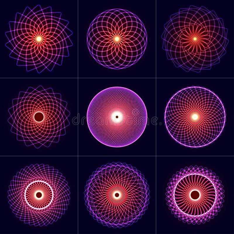 Neonglühensymmetrie-Elementsatz Heilige Geometrie Kreis der Balance und der Harmonie Abstrakter psychedelischer Vektorhintergrund lizenzfreie abbildung