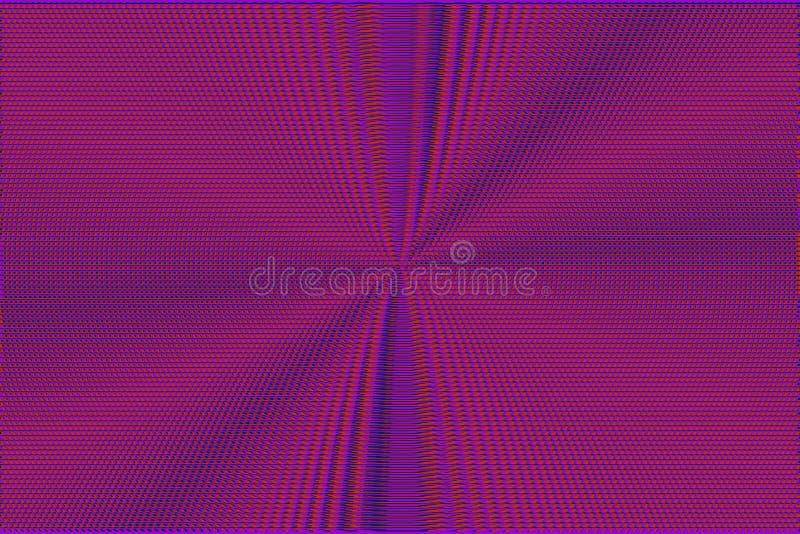 Neonglitch halftone abstracte rode en purpere glitch achtergrond Hypnotic optische illusietextuur stock afbeelding