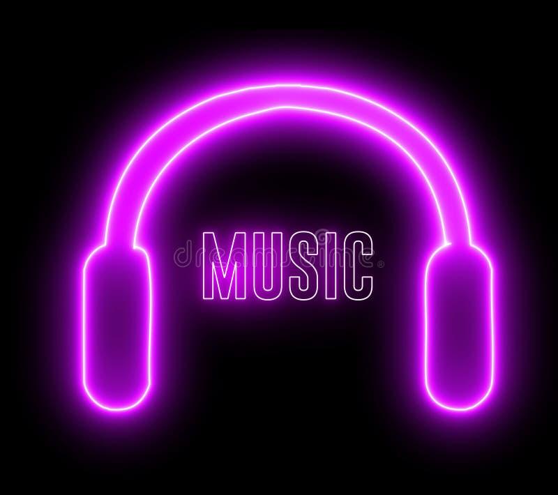 Neonhörlurar och texten i `MUSIC` Färgstark design för dj, headset och ljud med blankt ljus fotografering för bildbyråer