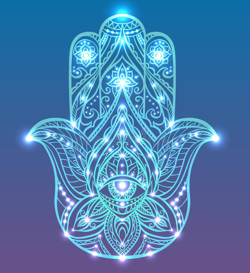 Neonillustration av blåa Hamsa med bohomodellen med neonljus och glöd Buddhahand royaltyfri illustrationer