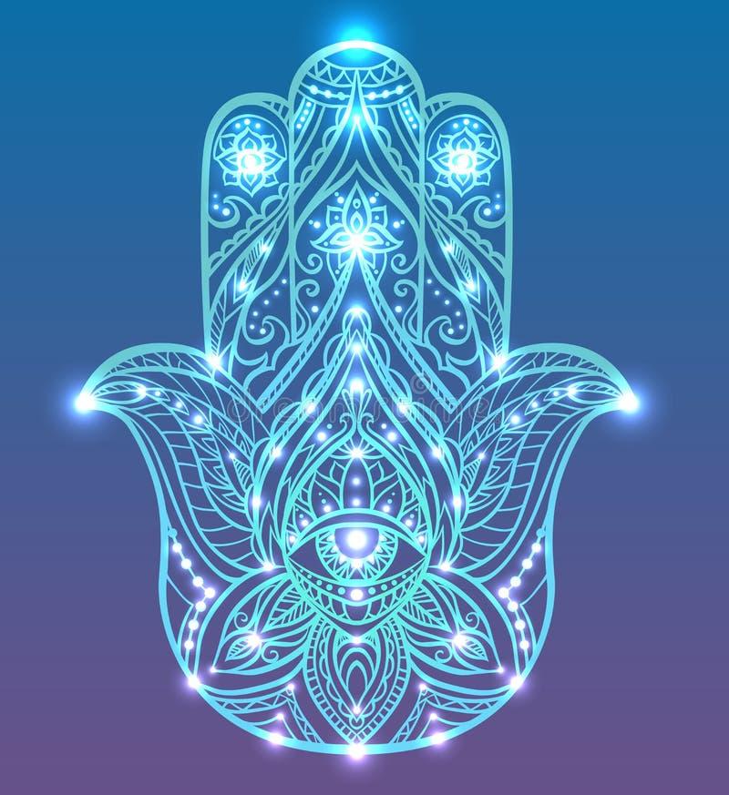 Neonillustration von blauem Hamsa mit boho Muster mit Neonlichtern und Glühen Buddhas-Hand lizenzfreie abbildung