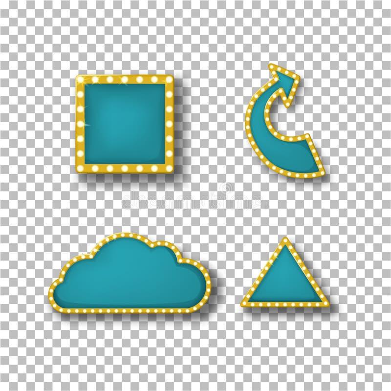 Neonkaders, banners, in vorm van quare, wijzer, wolk, driehoek royalty-vrije illustratie