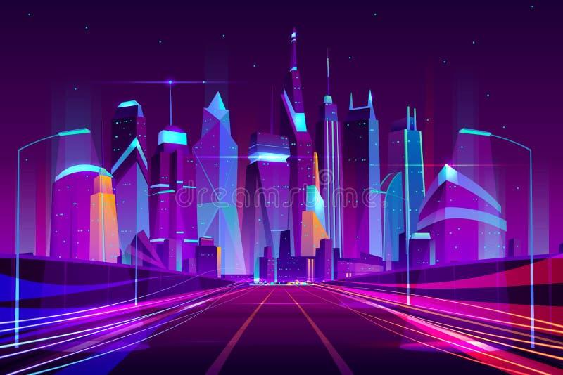 Neonkarikaturvektor der zukünftigen Metropolenlandstraße lizenzfreie abbildung