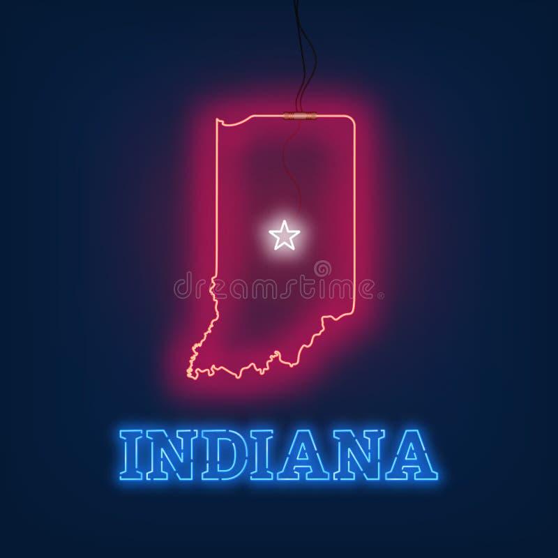 Neonkarte Staat Indiana auf dunklem Hintergrund lizenzfreie abbildung