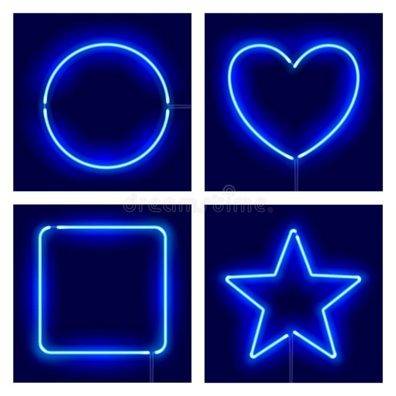 Neonkreis, Herz, Quadrat und Stern auf dunklem Hintergrund Blaue Neonrahmen der realistischen unterschiedlichen Form des Vektors lizenzfreie abbildung