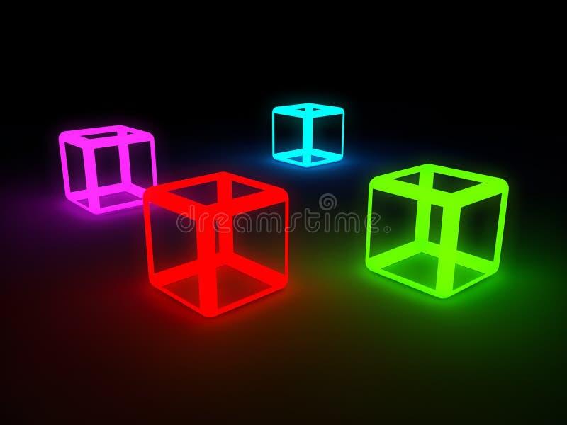 Neonkuber i kall 3d som mycket är härlig och stock illustrationer