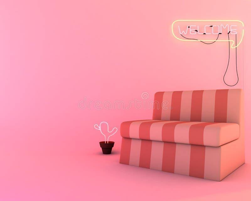 Download Neonlicht Im Wohnzimmer, Möbel Von 3d übertragen Modell Stock  Abbildung   Illustration Von Modern