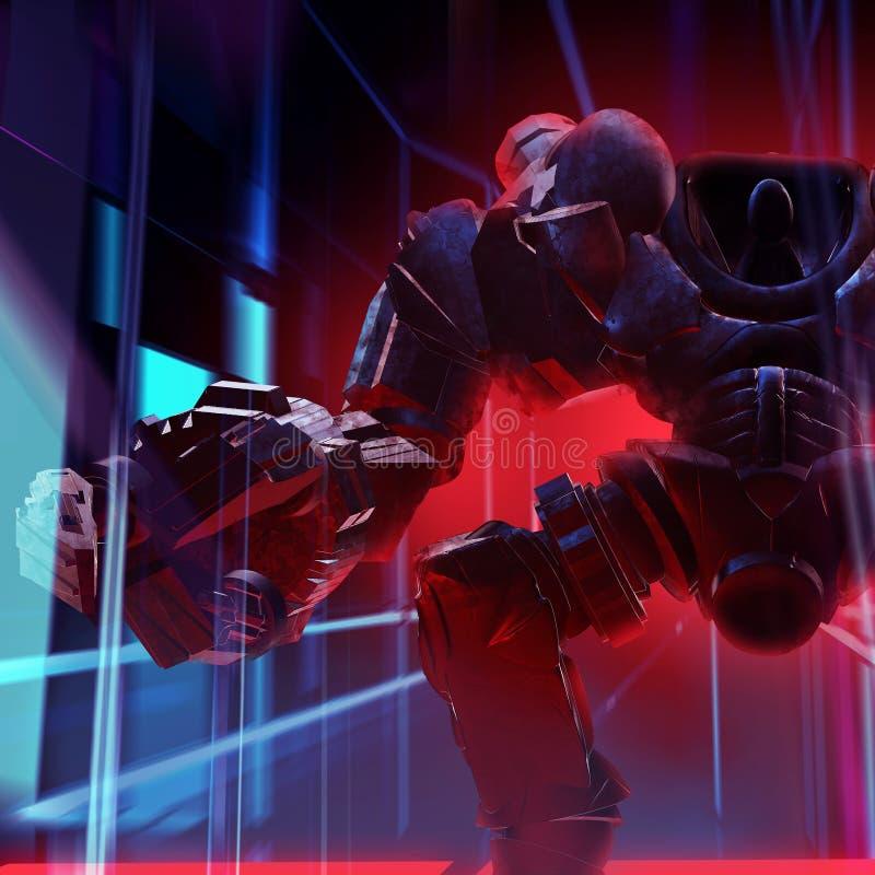 Neonlichten van de robot de mechanische strijder stock illustratie