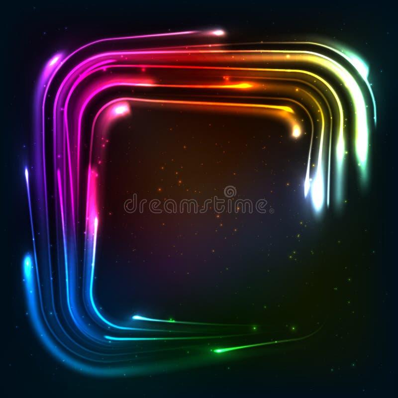 Neonlichter des glänzenden Regenbogens quadrierten Rahmen vektor abbildung