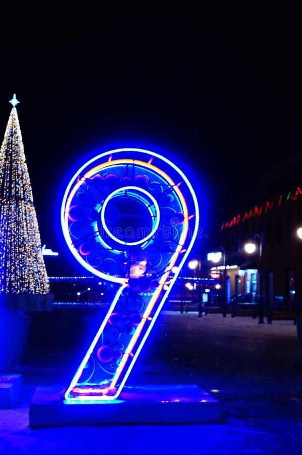 Neonlichter zwei tausend der Nr. neun neunzehn stockfotografie