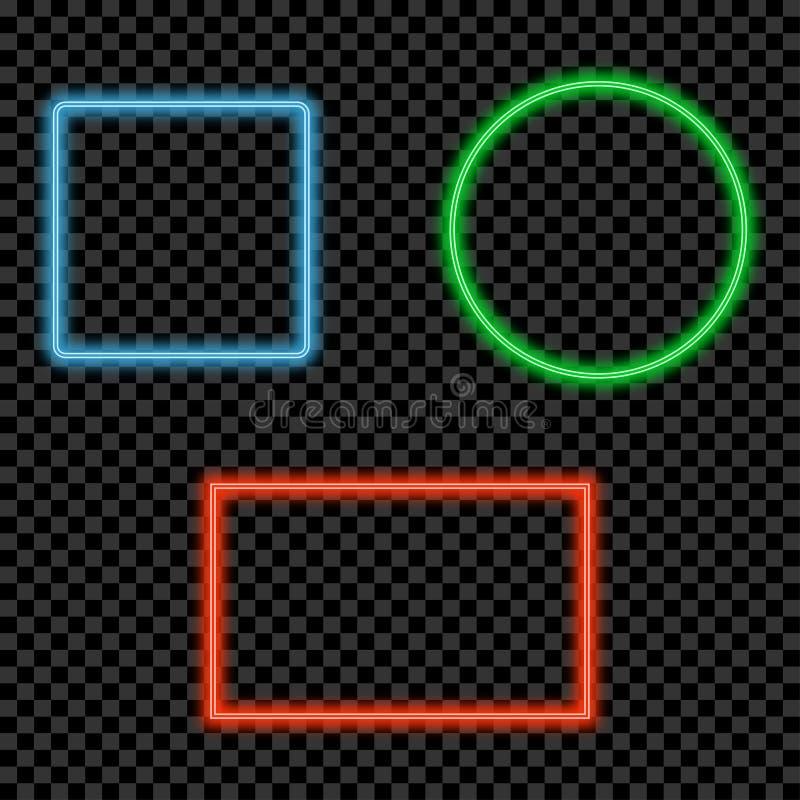 Neonlichtrahmen eingestellt Glühende und glänzende helle Grenzen mit Raum für Text Vektor stock abbildung