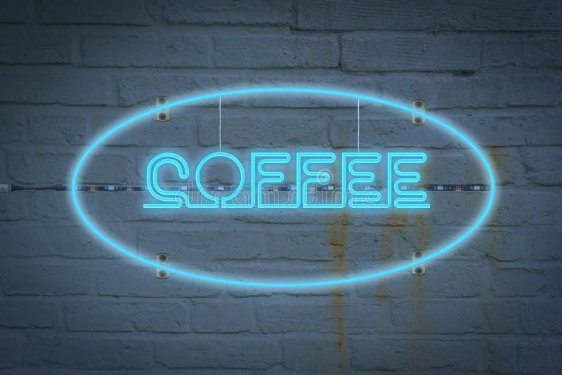 Neonlighton väggen med ordet KAFFE royaltyfri bild