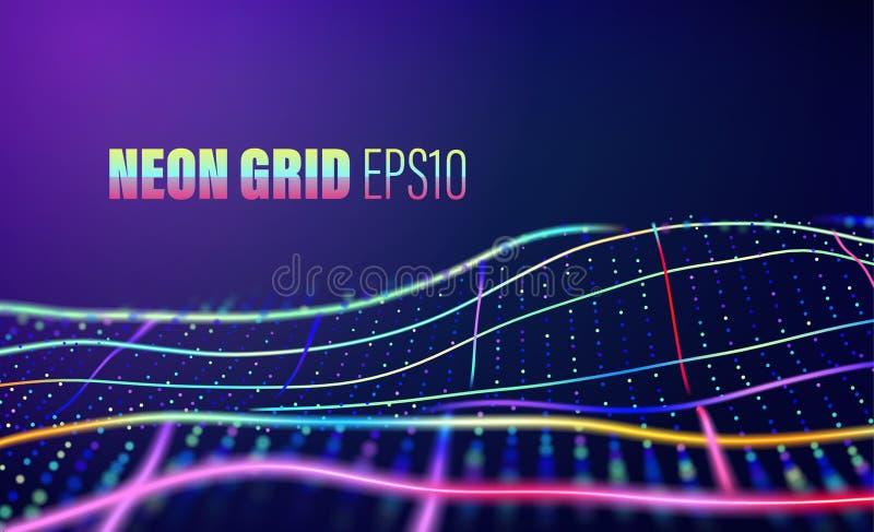 Neonlijnen met puntennet de vector abstracte achtergrond van de de jaren '80disco stock illustratie