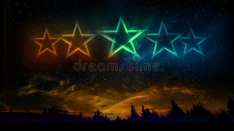 Neonljus fem stjärnor som en konstellation arkivbilder