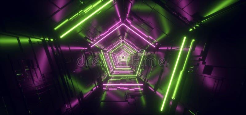 Neonljus - port för tunnel för korridor för metall för purpurfärgat grönt Hyper femhörnigt detaljerat Sci Fi för triangel futuris stock illustrationer