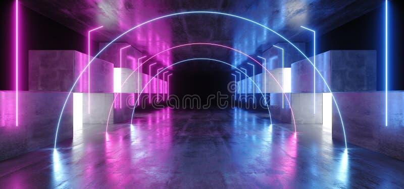 Neonljus välvar det grafiska glödande purpurfärgade blåa vibrerande faktiska podiet för garaget för konstruktion för etappen för  vektor illustrationer