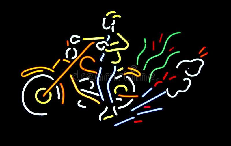 Neonmotorcykeltecken royaltyfria foton