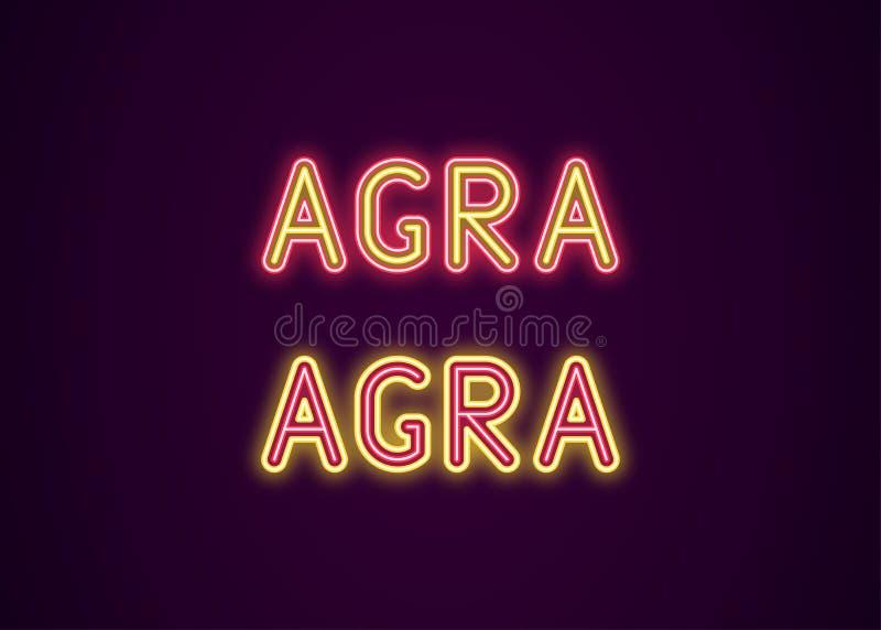 Neonnaam van Agra-stad in India stock illustratie