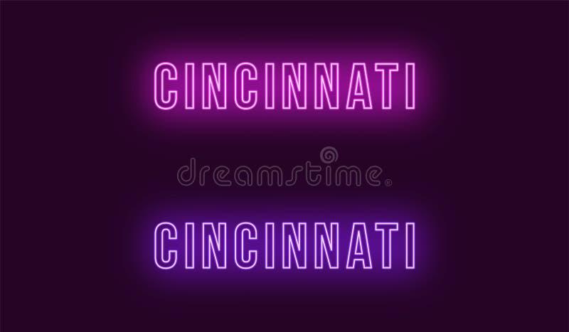 Neonnaam van de stad van Cincinnati in de V.S. Vectortekst stock illustratie