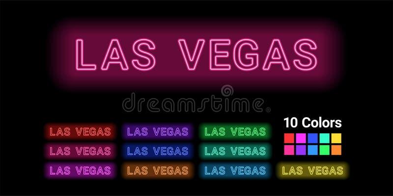 Neonnaam van de stad van Las Vegas vector illustratie