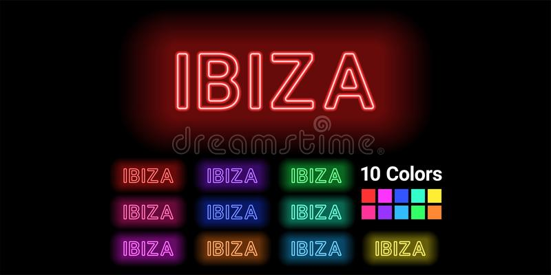 Neonnamn av den Ibiza ön royaltyfri illustrationer