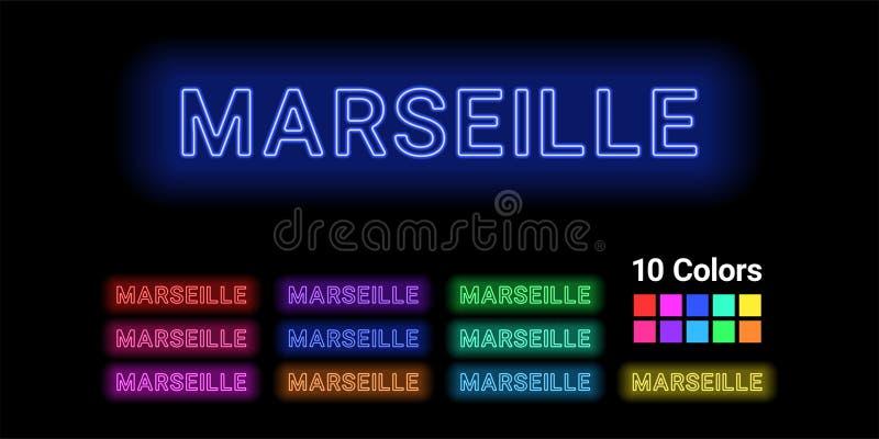 Neonnamn av den Marseille staden stock illustrationer