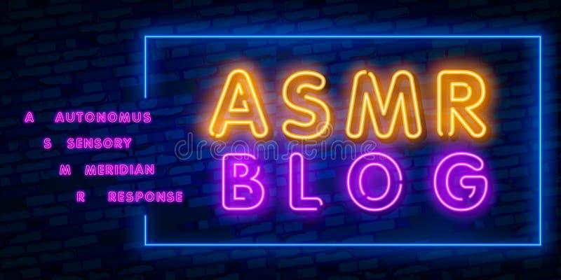 Neonowa Autonomiczna sensualna południk odpowiedź, ASMR logo lub ikona, Mikrofon i serce kształtowaliśmy słuchawki, jako sym ilustracji