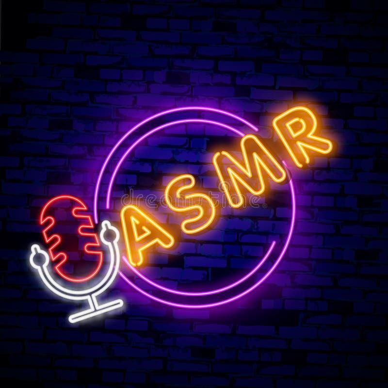 Neonowa Autonomiczna sensualna południk odpowiedź, ASMR logo lub ikona, Mikrofon i serce kształtowaliśmy słuchawki, jako sym ilustracja wektor