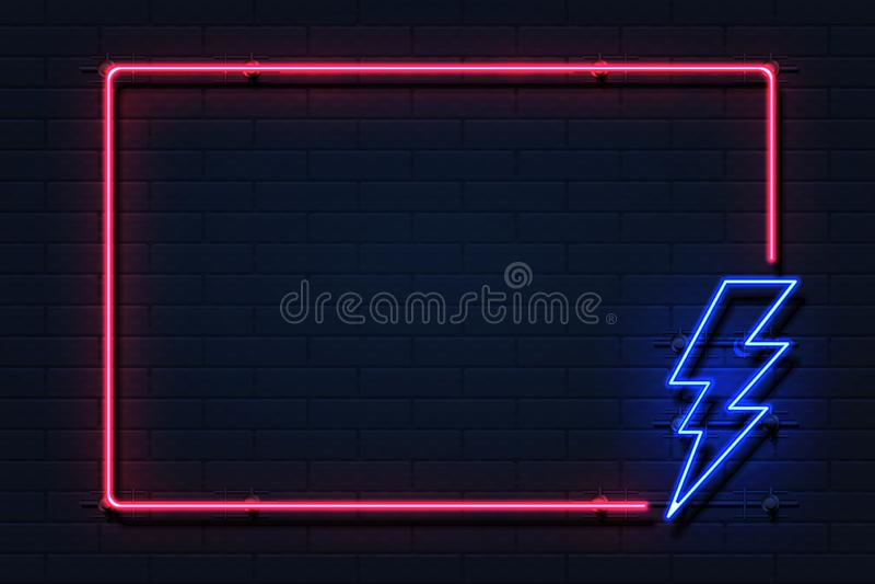 Neonowa błyskawicy rama Elektryczności władzy błysku logo na czarnym tle, awarii enrgetycznej pojęcie Wektorowy błyskawicowy inte ilustracja wektor